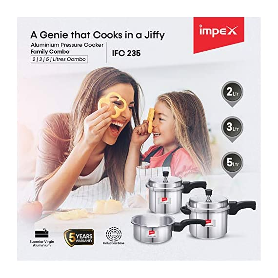 Impex IFC 235 Induction Base Aluminium Pressure Cooker Family Combo Set with Outer Lid (Silver, 2, 3 and 5 L) 7
