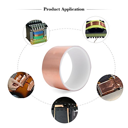 Copper Foil Tape with Conductive Adhesive Single-sided Strong Durable Multi-Use Guitar Copper Tape, EMI Shielding, Stained Glass, Paper Circuits,Electrical Repairs, Grounding (20m) by Vbestlife (Image #4)