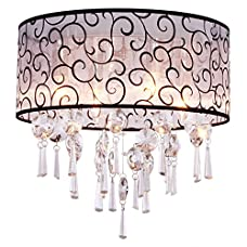 DINGGU™ Luxury Drum 4 Lights Flush Mounted Crystal Ceiling Lamp , Modern Chandelier Pendant Light Fixtures for Bedroom