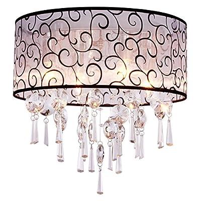 DINGGU™ Luxury Drum 4 Lights Flush Mounted Crystal Ceiling Lamp , Modern Chandelier Pendant Light Fixtures for Bedroom