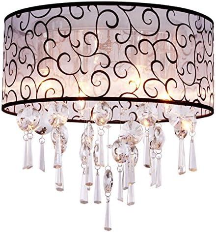 Dinggu Luxury Drum 4 Lights Flush Mounted Crystal Ceiling Lamp Modern Chandelier Pendant Light Fixtures For Bedroom