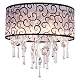 DINGGU™ Luxury Drum 4 Lights Flush Mounted Crystal Ceiling Lamp, Modern Chandelier Pendant Light Fixtures for Bedroom