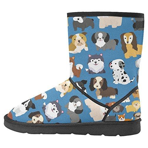 Botas De Nieve Para Mujer Interestprint Unique Designed Comfort Botas De Invierno Lindo Perro Y Cachorros Multi 1