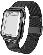 ADWLOF Compatible for Apple Watch Band 38mm 40mm 42mm 44mm with Screen Protector Case, Sports Wristband Strap Replacement Band with Protective Case Compatible for iWatch Series 4/3/2/1