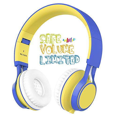 Kids Headphones, HD30 Volume Limiting Kids Headset with Microphone for Boys Girls and iPad Tablets Computer Laptops Android Smartphone (Yellow/Blue)
