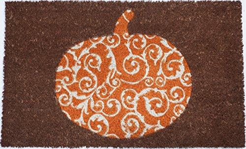 Entryways Scrolled Pumpkin Non- Slip Coconut Fiber Doormat 17