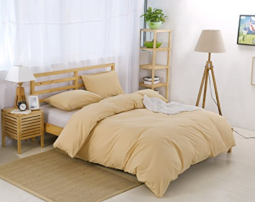 Colourful Snail 100-Percent Natural Washed Cotton Duvet Cover Set, Ultra Soft and Easy Care, Fade Resistant, Queen/Full, Khaki