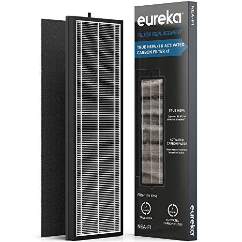 Eureka Air Purifier NEA-F1, True HEPA Activated Carbon Filter x 1,  Replacement for InstantClear NEA120, Filter1, Black