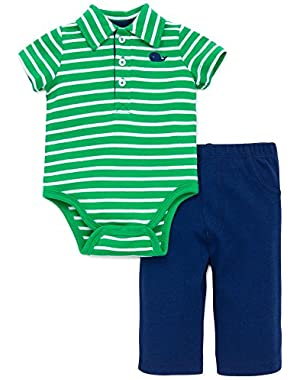 Baby 2 Piece Set Boys Striped Polo Bodysuit and Comfy Pants Set
