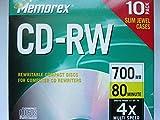 CD-RW 1x-4x, 80Min/700MB, Branded w/ Slim Jewel
