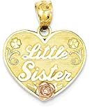 ICE CARATS 14k Two Tone Yellow Gold Little Sister Heart Pendant Charm Necklace Love Fine Jewelry Gift Set For Women Heart