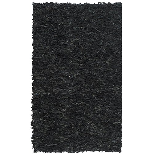 Leather Shag Rug - Safavieh Leather Shag Collection LSG511A Hand Woven Black Leather Area Rug (4' x 6')