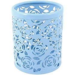 uxcell Light Blue Hollow Rose Flower Pattern Metal Pen Pencil Pot Holder Organizer