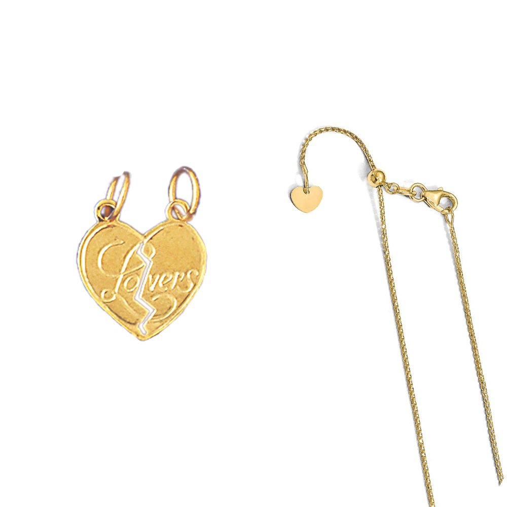 14K Yellow Gold Breakable Heart Lovers Pendant on an Adjustable Chain Necklace