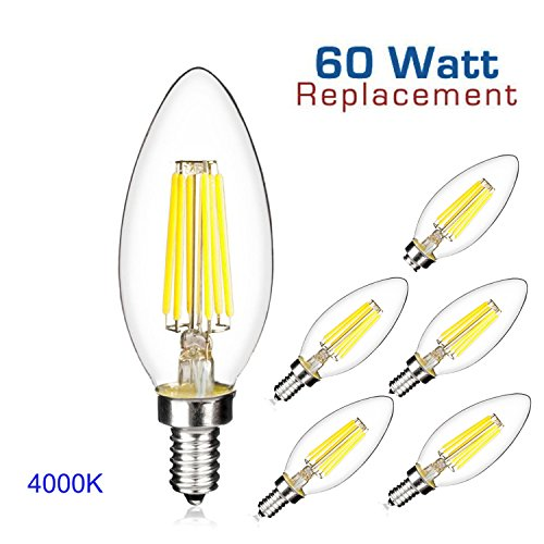 [ 5 Pack ] Acidea 6W Dimmable LED Filament Candle Light B...
