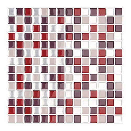 "FARONZE Kitchen Mosaic Wall Tiles Peel and Stick Self-Adhesive DIY Backsplash Stick-on Vinyl Wall Tiles for Kitchen and Bathroom 10"" X 10"" Each, 4 Sheets Pack (Burgundy)"