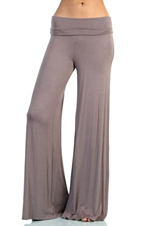 Love Melrose Women's Fold Over Waist Wide Leg Chic Palazzo Lounge Pant Tan M