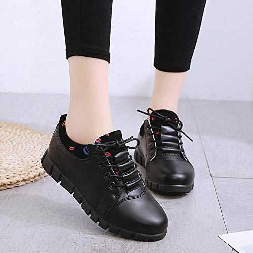Course Casual Souple Cuir Chaussures Semelles Sport en Noir EU à De Femmes Air 36 39 en Chaussures Plein pour Lacets Confortables GongzhuMM q8fT6pf