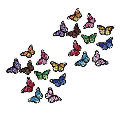 Iusun Applique Patches 20 Pieces Butterfly Iron on Badge Embroidery Decorative for Jeans, Jackets, Kid