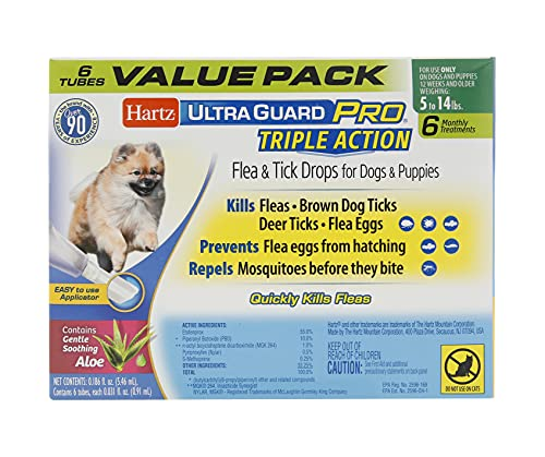 Hartz UltraGuard Pro Topical Flea & Tick Prevention for Dogs and Puppies, 5-14 lbs 6 Monthly Treatments
