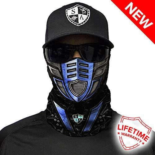 Fishing, Running, Cycling, Motorbike, Walking, Riding etc Multi-Functional Headwear//Scarf. SA Company Robot Face Blue Face Shield//Loop Scarf//Bandana//Balaclava