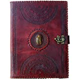 BLF Vintage Handmade Embossed Leather Portfolio Resume pad folio Cover File Folder Professional Business Organizer Notepad Holder Perfect Office and Documents Binder Padfolio Case by Brotherhood Leather Factory