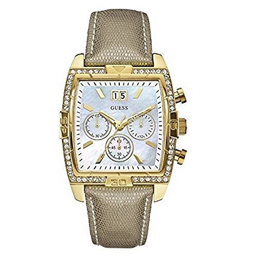 Guess Womens Classic Crystal Multifunction Mother-of-Pearl Dial Gold Tone Watch W0285L2