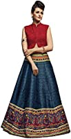 Royal Export women's Bangalori silk digital printed Semi-stitched lehenga choli