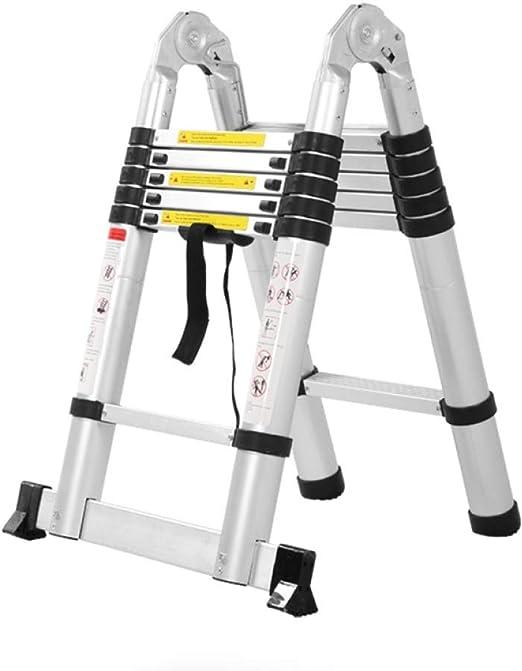 DH Escalera Plegable Aluminio Escalera Telescópica Escalera Plegable,Antideslizantes, 150kg,5m(2.5m+2.5m)-Multi-functionLadder: Amazon.es: Hogar
