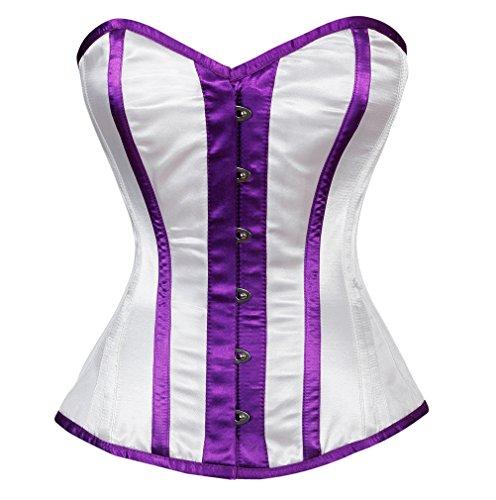 アダルト完璧最大化するWhite Satin Purple Stripes Goth Burlesque Waist Training Bustier Overbust Corset