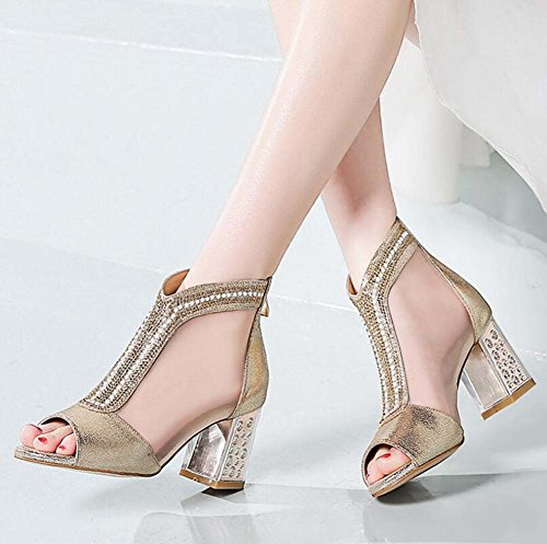 Europa Zapatos High Sandals Unidos New De Estados Cool Leather Y Shoes Mesh Summer Heels Dorado Fashion Mujer TqYA4xqf
