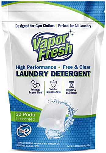(Vapor Fresh Laundry Detergent Pods - 30 Loads - Free and Clear - Unscented - HE Safe - Cold Water Enzymes - Ideal Laundry Soap for Sports and Activewear - 30 Pacs)