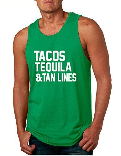 Allntrends Men's Tank Top Tacos Tequila Tan Lines Beach Summer Top (L, - Tanlines Summer
