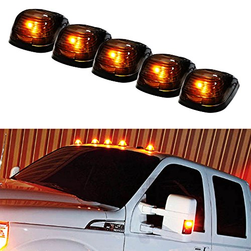 iJDMTOY 5pcs Black Smoked Cab Roof Top Marker Running Lamps w/ 5-SMD-5050 Amber LED Lights For Truck 4x4 SUV