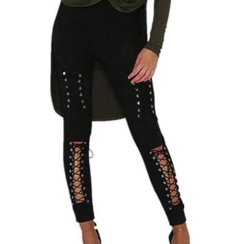 LnLyin Jeans Stretch Hose Zerrissen High Waist Jeanshose Skinny Hochbund Hose Damen Mädchen Frauen,Schwarz,L