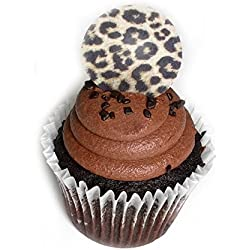 Brown Cheetah Wild Animal Print 1.5 Inch Wafer Paper Toppers for Decorating Desserts Cupcake Pack of 24