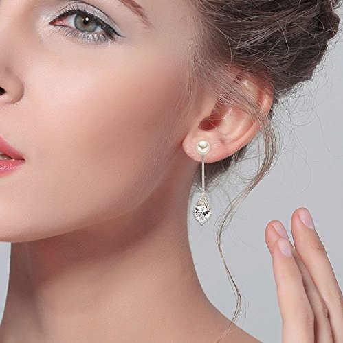 EVER FAITH 925 Sterling Silver CZ 9MM AAA Freshwater Cultured Pearl Elegant Drop Ear Jacket Earrings by EVER FAITH (Image #3)