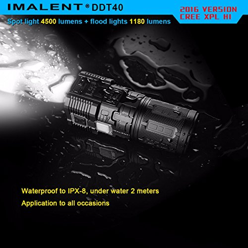 IMALENT DDT40 4500 Lumens +1180 Lumens Handheld LED Flashlight Powered Tactical Flashlight for Camping Hiking (The item can be delivered within 10 days) by IMALENT (Image #1)