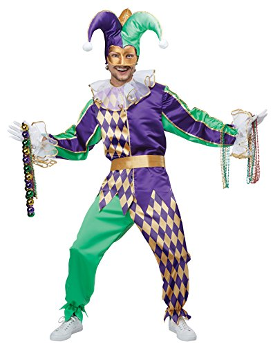 UHC Men's Mardi Gras Jester Clown Outfit Carnival Theme Halloween Costume, XL (44-46)