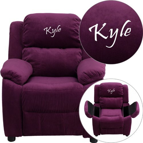 - Personalized Deluxe Kid's Recliner Upholstery: Purple Microfiber