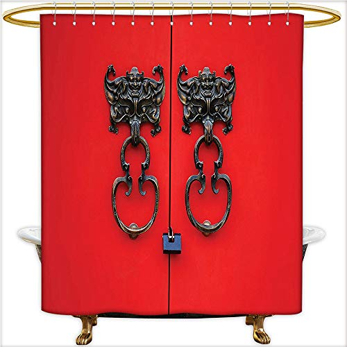 Qinyan-Home Bathroom Curtain with Removable Bat Knocker on Entrance Design and Antique Ethnic Cultural Artwork Pattern Red and Copper. Mold Resistant Shower Curtain for Bathroom.W72 x H72 Inch ()