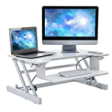 Height Adjustable Sit Stand Desk - Ergonomic Workstation with Wide Keyboard Tray (White)