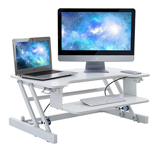 Height Adjustable Sit Stand Desk - Ergonomic Workstation with Wide Keyboard Tray (White) by Lifang