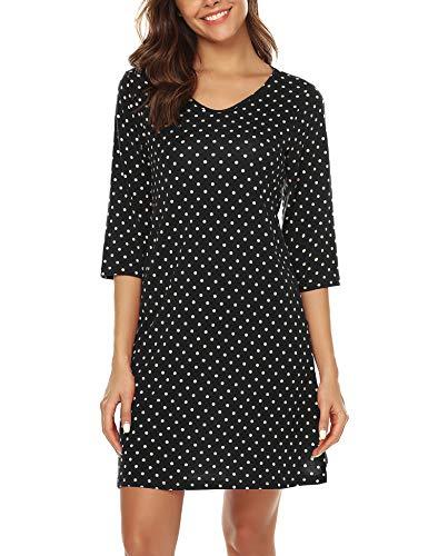 URRU Women's Sleepwear Cotton Nightgown V-Neck 3/4 Sleeve Polka Dot Sleepshirt Black L