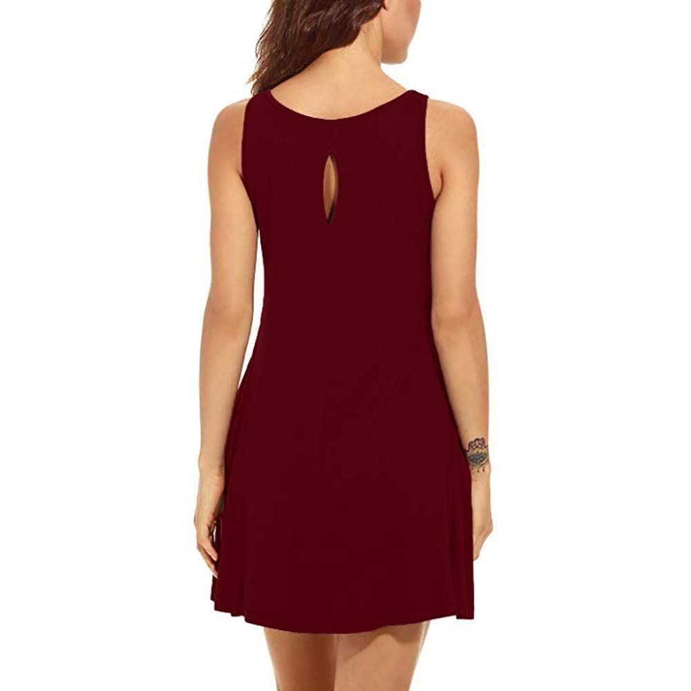 Womens Simple Solid Color Sleeveless Dress Casual Loose Round Neck Pocket Mini Skirt