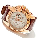 Invicta Men's 10522 Excursion Reserve Chronograph Silver Tone Textured Dial Brown Leather Watch, Watch Central