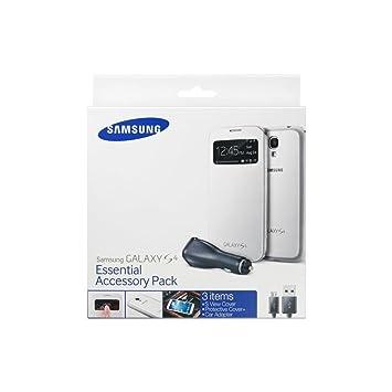 Samsung ET-VI950BWE - Pack de accesorios para Samsung Galaxy S4 (carcasa S-view blanca, cargador para coche), blanco