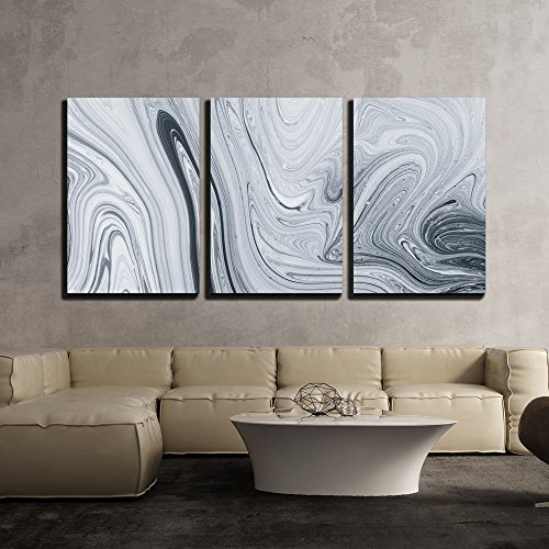 wall26 - 3 Piece Canvas Wall Art - Abstract Pattern, Traditional Ebru Art. Painting on Water, Followed by Paper Prints. - Modern Home Decor Stretched and Framed Ready to Hang - Wall Decor Marble