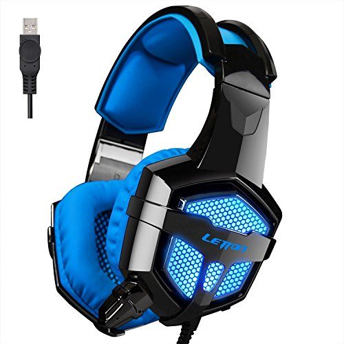 Headset Gaming Vibration - [LETTON 2016 Version Vibration PC Gaming Headset]LETTON G1 Wired Stereo Gaming Headset LED Lighting Over Ear Headphone with Mic Vibration Integrated Subwoofer for PC Mac Laptop
