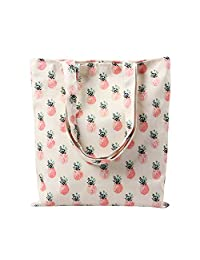 Flowertree Women's Cartoon Floral Fruit Print Canvas Tote Bag